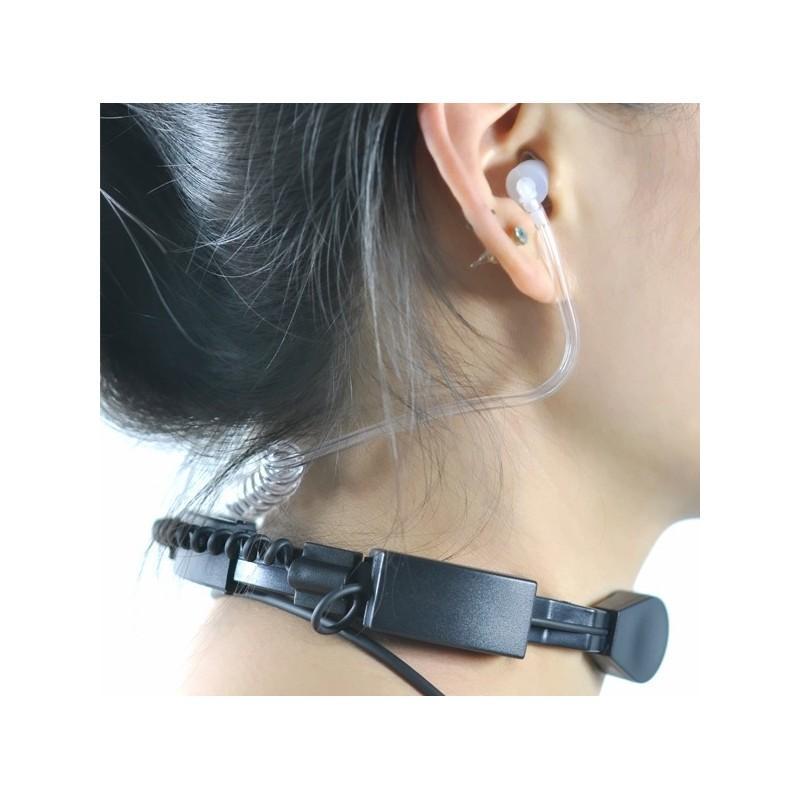 Ларингофон (горловой микрофон) для раций Walkie Talkie А60 (две кнопки PTT+прозрачные наушники) 190373