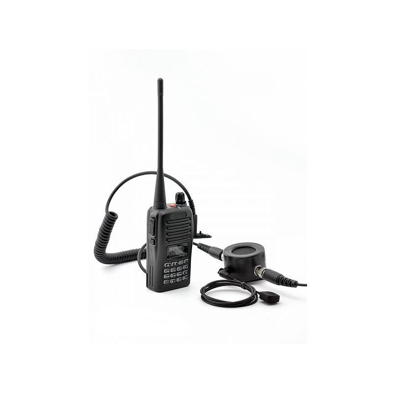 Ларингофон (горловой микрофон) для раций Walkie Talkie А60 (две кнопки PTT+прозрачные наушники) 190384