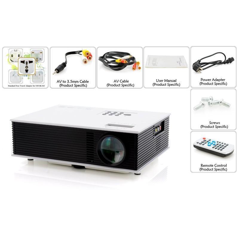 LED видео проектор Retro teck – TV-тюннер, 1500 ANSI-люмен, 700:1 контраст, HDMI, VGA, AV, 2x USB