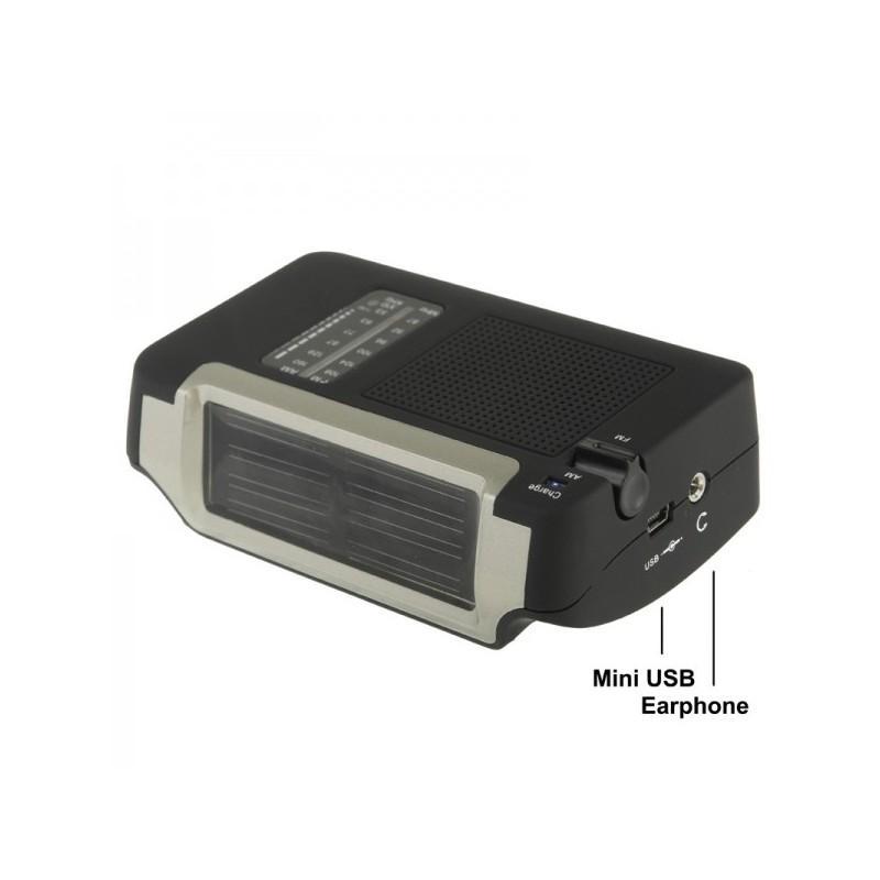 Автономный AM/FM радиоприёмник на солнечных батареях ( + с зарядкой от динамо-машины или USB, выдвижной антенной) 190452