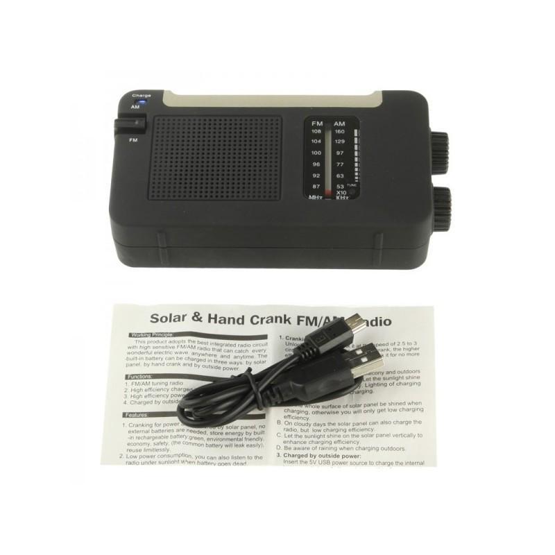 Автономный AM/FM радиоприёмник на солнечных батареях ( + с зарядкой от динамо-машины или USB, выдвижной антенной) 190453
