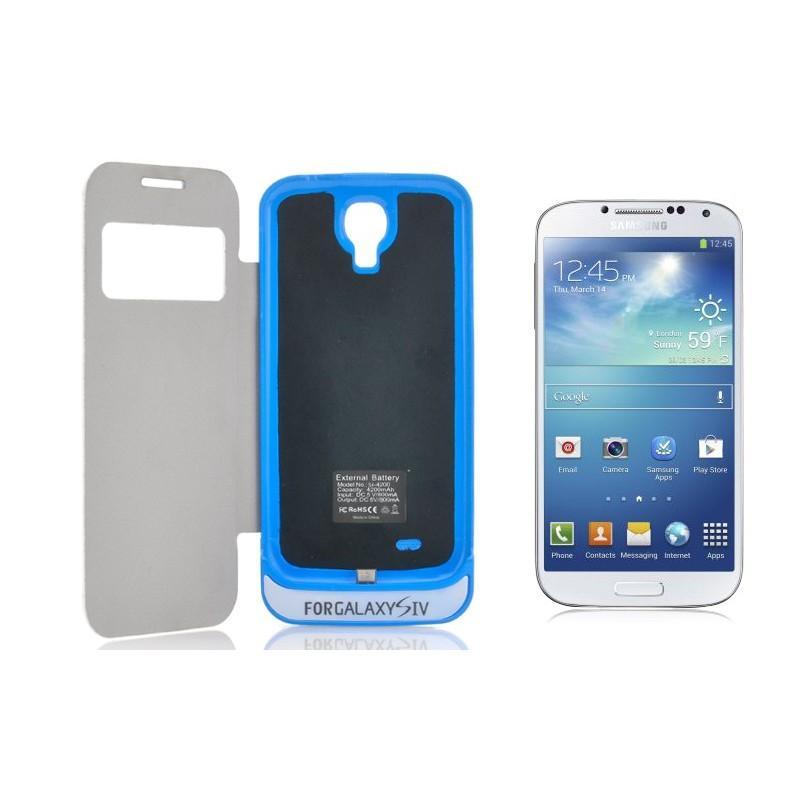 Внешняя батарея/чехол-книжка с защитой экрана для Samsung Galaxy S4