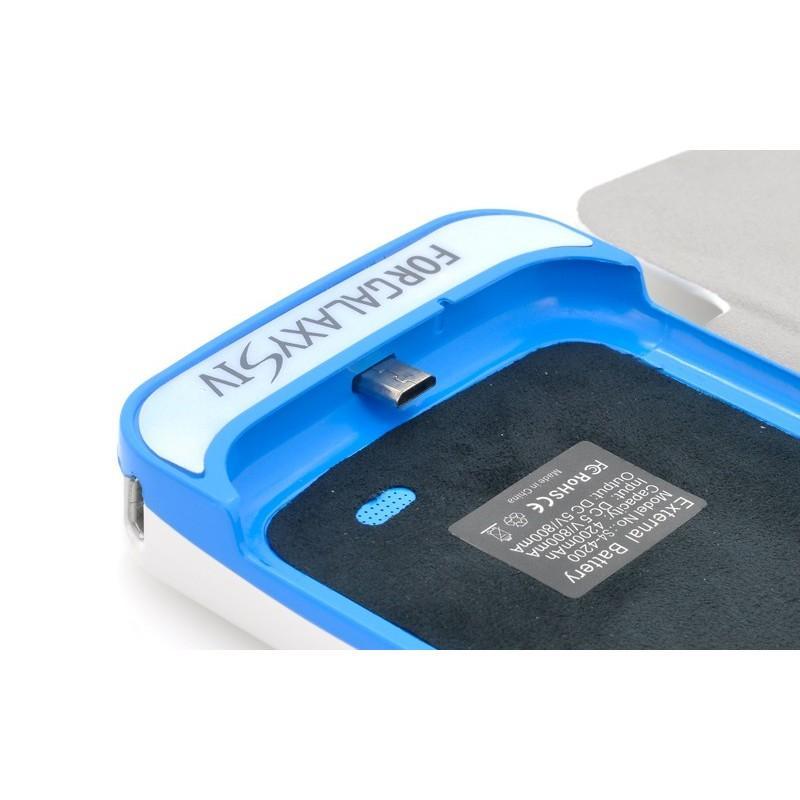 Внешняя батарея/чехол-книжка с защитой экрана для Samsung Galaxy S4 190701
