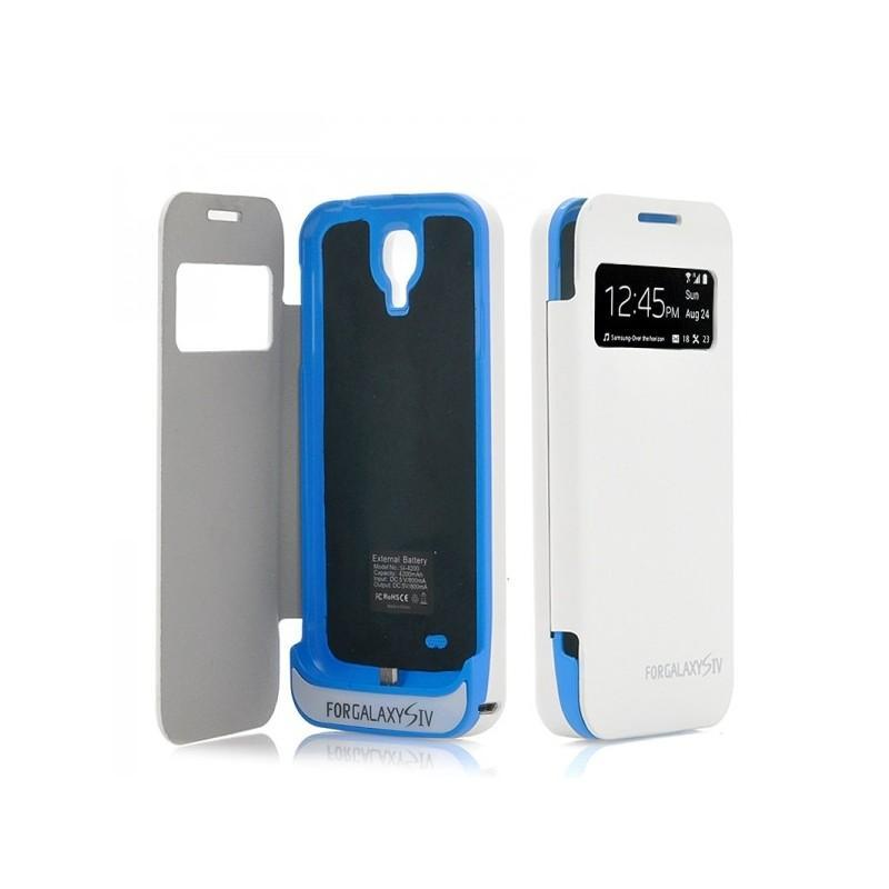 Внешняя батарея/чехол-книжка с защитой экрана для Samsung Galaxy S4 190703