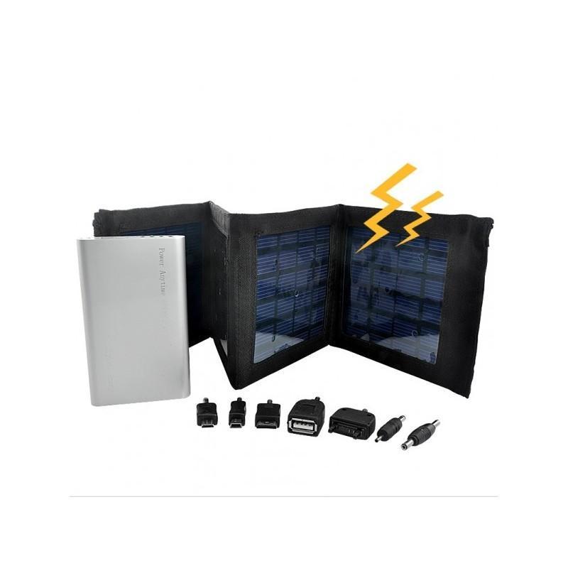 Маленькая раскладная солнечная зарядка + алюминиевый аккумулятор на 4000 мАч SolarJet S52 (micro USB,mini USB,USB,Nokia,Samsung) 190728