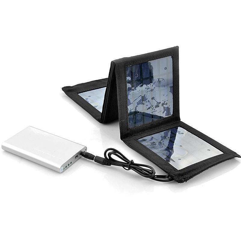Маленькая раскладная солнечная зарядка + алюминиевый аккумулятор на 4000 мАч SolarJet S52 (micro USB,mini USB,USB,Nokia,Samsung) 190730