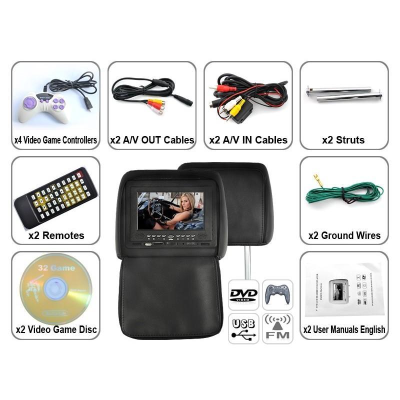 Пара автомобильных 7-дюймовых мониторов в подголовник – DVD, игровые приставки, мультимедийные комбайны 190743