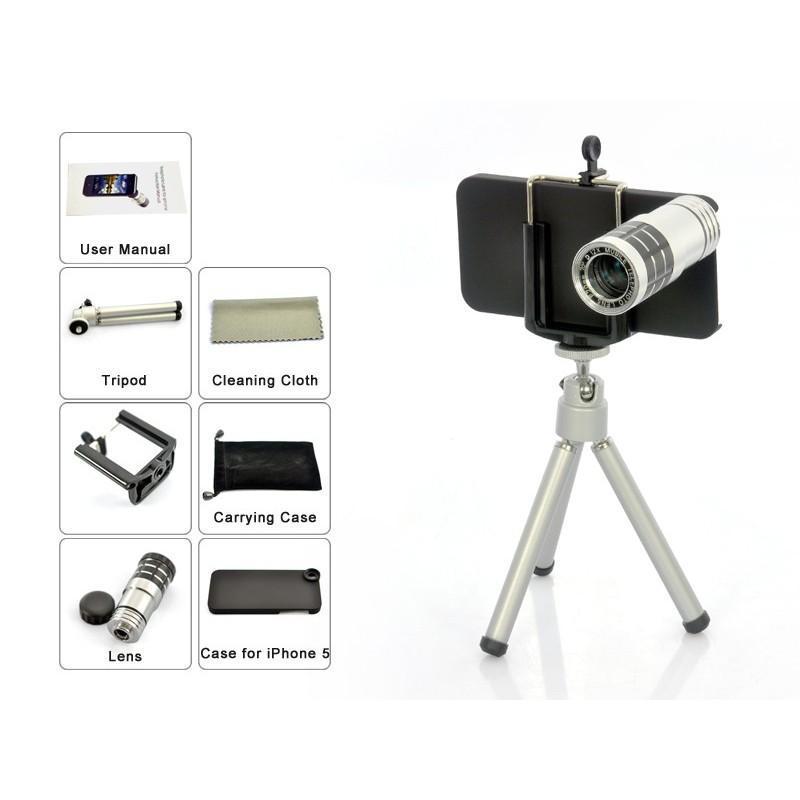 Телескопический объектив для iPhone 5 (12х оптический зум) + портативный штатив A187